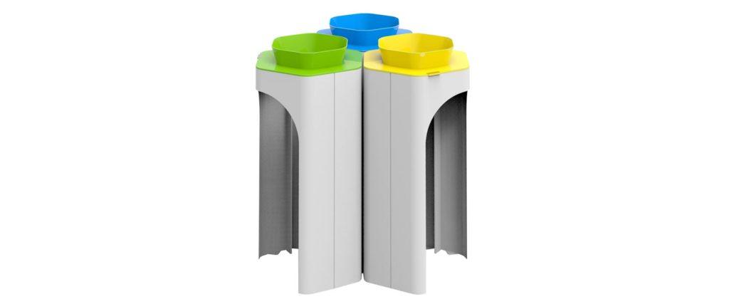 corbeille Hexa 3 tri objetspublis poubelle design design urbain