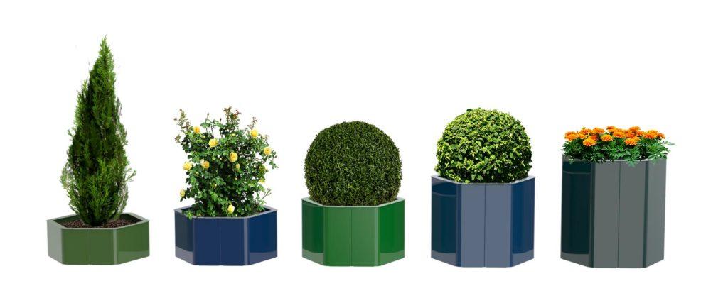 bac à végétaux hexa xl m mobilier urbain design banc public design francs magné objetspublics